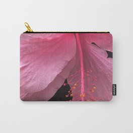 Dewdrops on Tropical Pink Flower Carry-All Pouch