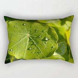Rain drips on a nasturtium leaf Rectangular Pillow