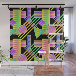 Neon Ombre 90's Striped Shapes Wall Mural