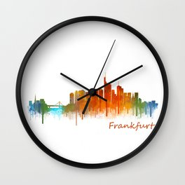 Frankfurt am Main, City Cityscape Skyline watercolor art v2 Wall Clock
