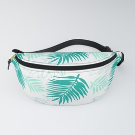 Aqua Jade and White Tropical Palm Leaves Fanny Pack