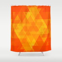 Bright orange and yellow triangles in the intersection and overlay. Shower Curtain