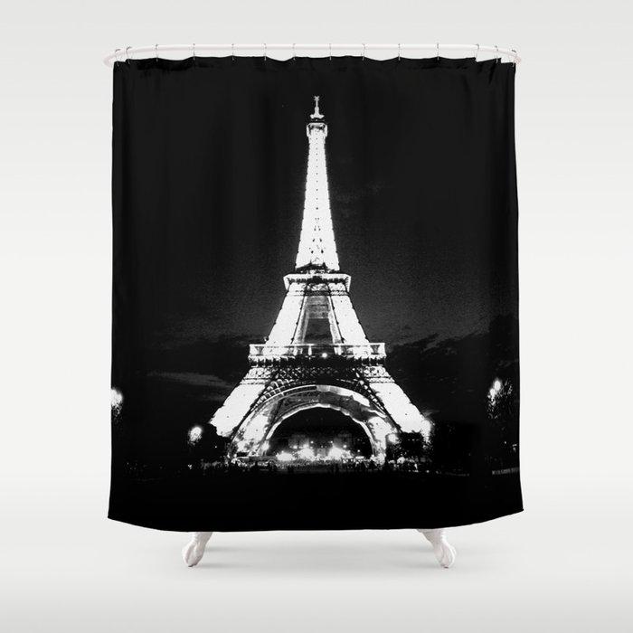 Paris Black White Shower Curtain