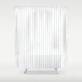 Hand Drawn Pencil Stripes Graphite Minimalist Shower Curtain