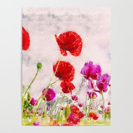 Meadow of Red Poppy Blossoms watercolor landscape painting Poster