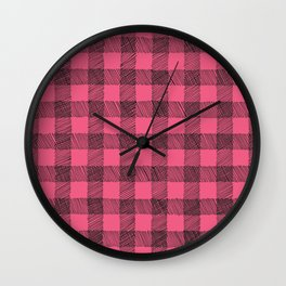 pink and black gingham Wall Clock