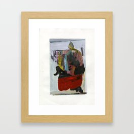 A Person Walking His Dog That Sees Fed Ex Man, Dog Runs Into Truck Framed Art Print