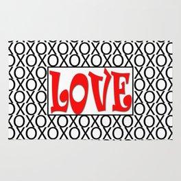 LOVE XOs Valentine Typography Digital Illustration, Modern Artwork Rug