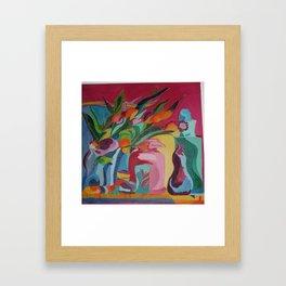 Happy Flowers and Vase Framed Art Print