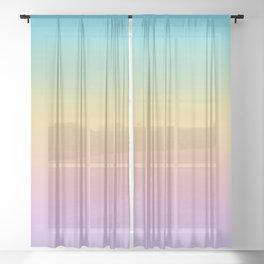 Pastel Rainbow Ombre Gradient Sheer Curtain