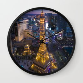 Aerial view of the Eiffel tower in Las Vegas Wall Clock