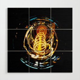 Industrial Filament Light Wood Wall Art