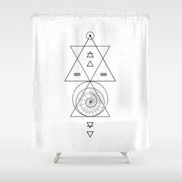 Espiral Triangle White Shower Curtain