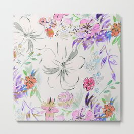 Modern hand paint watercolor floral Metal Print
