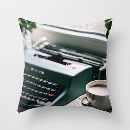 Typewriter, Coffee and Rain Throw Pillow