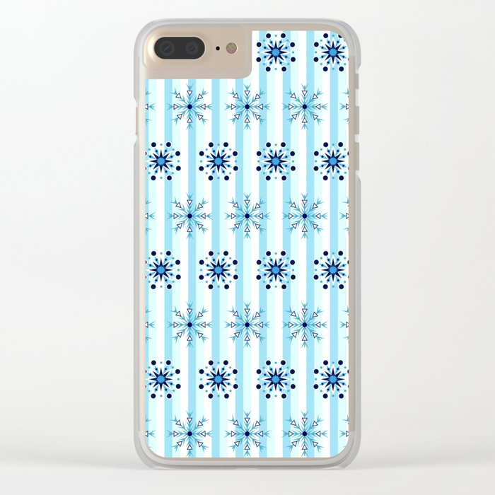 Snowflakes on a striped background Clear iPhone Case