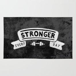 Stronger Every Day (dumbbell, black & white) Rug