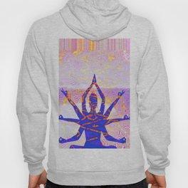 Kali Goddess Sunset Landscape with Tribal Glitch Pattern Hoody