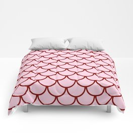 Pink & Red Fish Scales Pattern Comforters