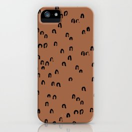 Minimal ink pattern abstract lucky rainbow brush copper iPhone Case
