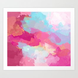 Colorful Abstract - pink and blue pattern Art Print