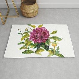 Cut Dahlia Watercolor on Wrinkled Paper Rug