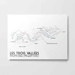 Les Trois Vallees, Savoie, France - EUR Edition (Labeled) - Minimalist Trail Art Metal Print