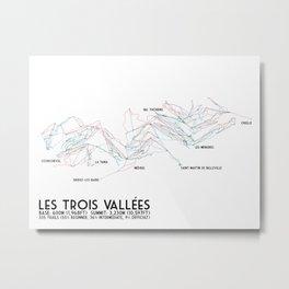 Les Trois Vallees, Savoie, France - EUR Edition (Labeled) - Minimalist Trail Art Metal Print