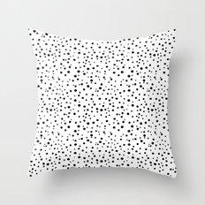 PolkaDots-Black on White Throw Pillow