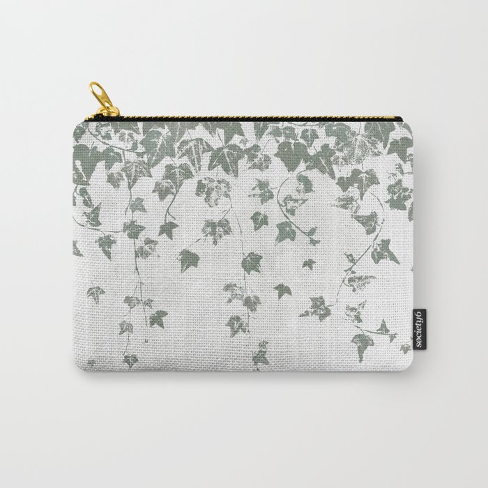 Gray Green Trailing Ivy Leaf Print Carry-All Pouch