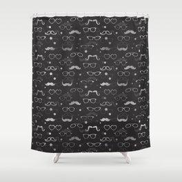 Hipster Elements Pattern silver on dark grey Shower Curtain
