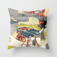 catcher in the rye Throw Pillows featuring Catcher in the Rye by all2