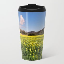 yellow flower meadow Travel Mug