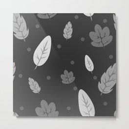 Greyscale Falling Leaves Metal Print