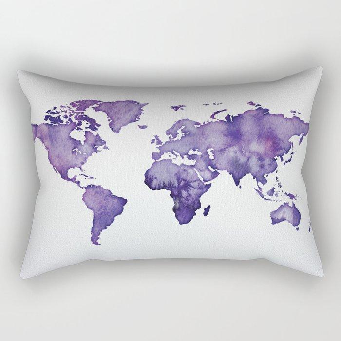 Purple World Map 01 Rectangular Pillow