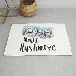Mount Rushmore watercolor Rug