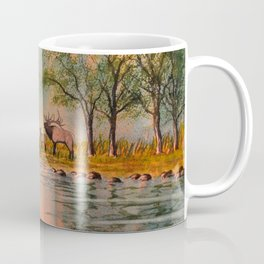 Elk Beside A misty River Coffee Mug