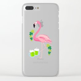 Cool Flamingo With Green Beer Clover St Patricks Day Clear iPhone Case
