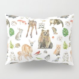 Woodland Animals Watercolor Pillow Sham