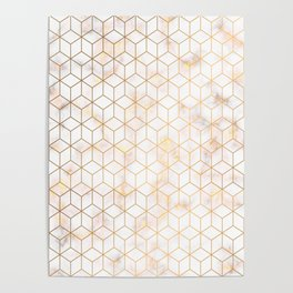 Geometric Gold Pattern on Gold Marble Poster