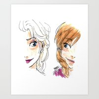 sisters Art Prints featuring SISTERS. by Maryne.