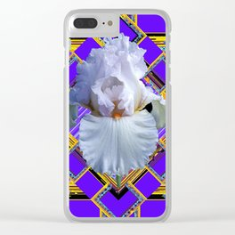 ART DECO WHITE IRIS PURPLE ART Clear iPhone Case