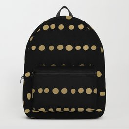 Boho Mudcloth Dots Pattern, Black and Gold Backpack
