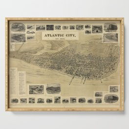 Vintage Pictorial Map of Atlantic City NJ (1900) Serving Tray