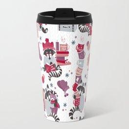Hygge raccoon // white background Travel Mug