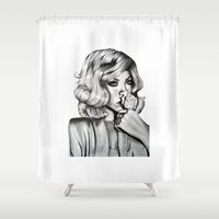 rihanna Shower Curtains featuring Rihanna by Ellie Wilson Designs