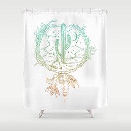 Desert Cactus Dreamcatcher Turquoise Coral Gradient on White Shower Curtain