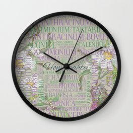 Homeopathy - Word Art with Remedies Wall Clock