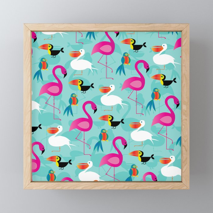Flamingos and parrots tropical birds pattern Framed Mini Art Print