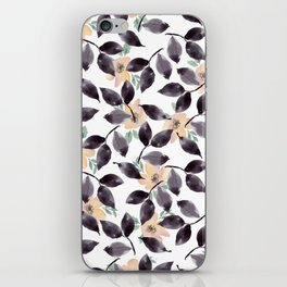 Hand painted blush coral black watercolor floral iPhone Skin